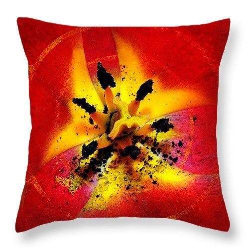 Red and Yellow Flower Throw Pillow, Home Decor, Throw Pillow Covers, Decorative Pillow Covers,  Gift for Her, Vibrant Cushion Cover