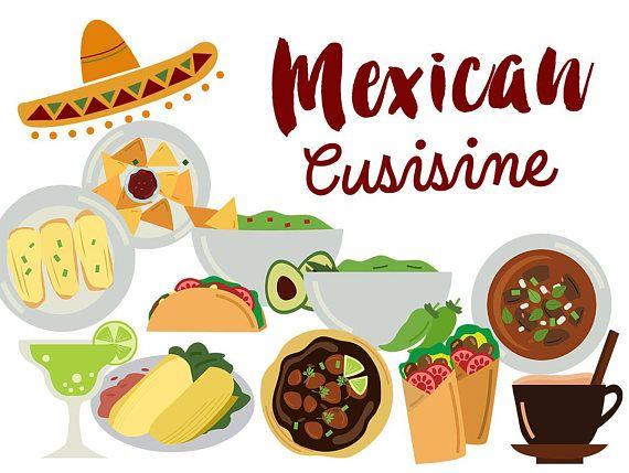 Mexico Clip Art Mexican Food Clipart Mexican Cuisine Tacos Etsy Mexican Food Recipes Food Clipart Mexican Cuisine Recipes