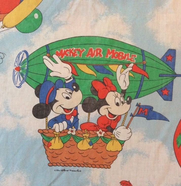 Disney Vtg Mickey Mouse Hot Air Balloon Full Sheet Fitted Flat Fabric Cutter  | eBay