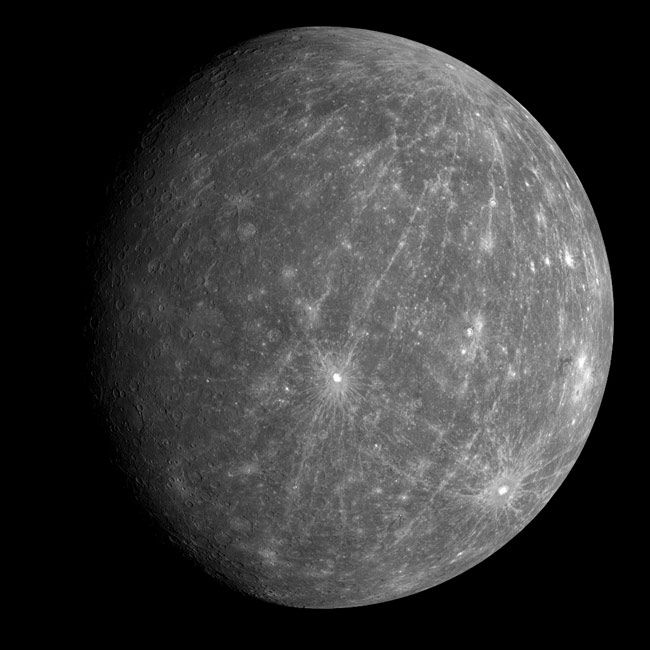 This view is one of the first from the MESSENGER probe's Oct. 6, 2008 flyby of Mercury. The bright crater south of the center of the image is Kuiper, identified on images from the Mariner 10 mission in the 1970s. For most of the terrain east of Kuiper, toward the limb (edge) of the planet, the views are the first ever of that portion of Mercury.