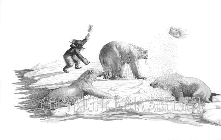 """The Polar Bear Amulets, Pencildrawing by Naja Abelsen. Scene from a myth. Illustration from """"Grønlandske Myter og sagn"""", Sesam publishing. 2000. Original for sale. GREENLAND MYTHOLOGY -www.123hjemmeside.dk/NajaAbelsen. Available as A3-photoprint 400 DKK / 54 Euro."""