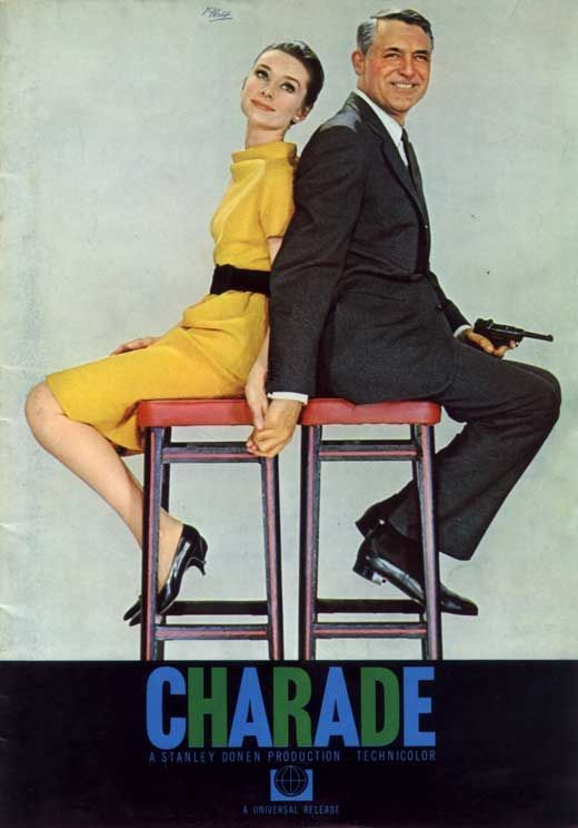 Audrey Hepburn + Cary Grant in Charade. Movie poster by Universal Studios.