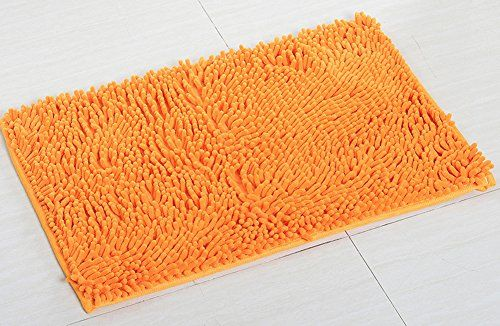 """YJ Bear Chenille Rectangle Anti-slip Microfiber Doormat Solid Color Non-Slip Area Rug Carpet Shaggy Floor mat Soft Bath Mat for Home Bedroom Orange 24"""" X 35""""  [Size & Material] Size:60*90cm/24""""*35""""; Material: Chenille.  [Shape & Hair Length] Shape: Rectangle; Hair Length: 3 centimeters. Items's actual color may be a little darker than the picture shows because of computer division, hope for your understanding.  [Feature] Super absorbent and easy get dried,fadeless; PVC latex non-slip b..."""