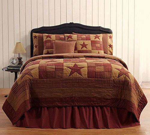 Primitive Country Folk Art  Patchwork BURGUNDY TAN STAR QUILT Queen Bedspread - BEAUTIFUL!!