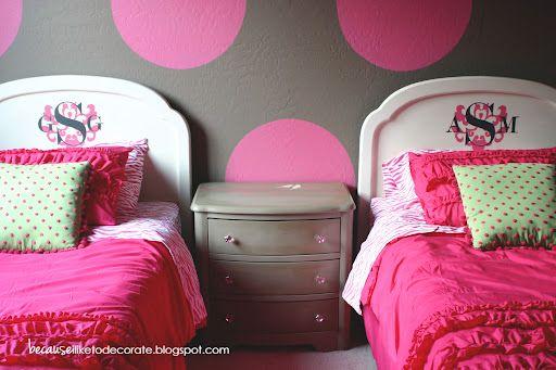 The Girls' Room Progress 1.3 – Monogrammed Headboards « becauseiliketodecorate…