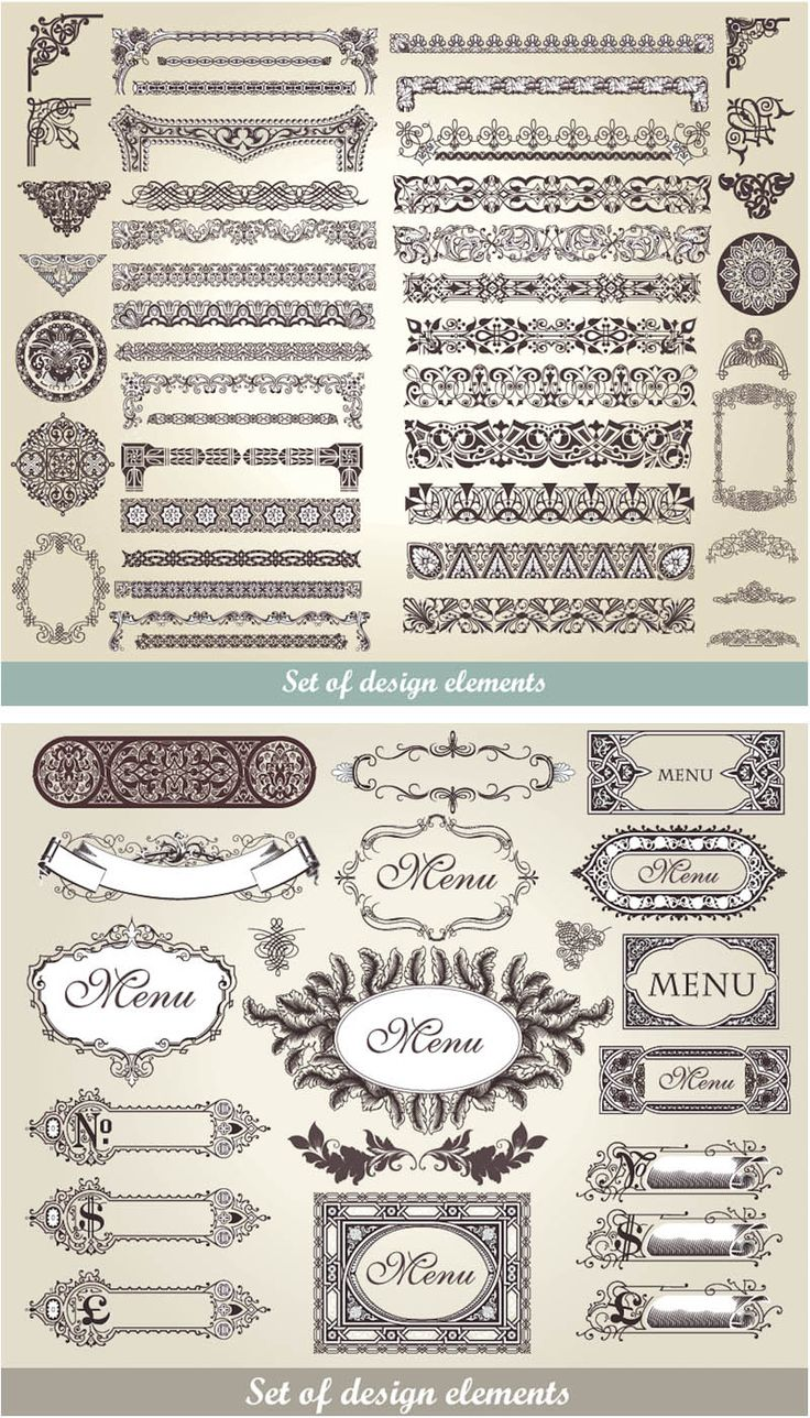 Download free vintage ornaments vintage ornaments and iders - 2 Sets Of Vector Vintage Decorative Frames And Borders With Classic Ornaments For Your Designs And Embellishment Of Different Cards Brochures And Labels