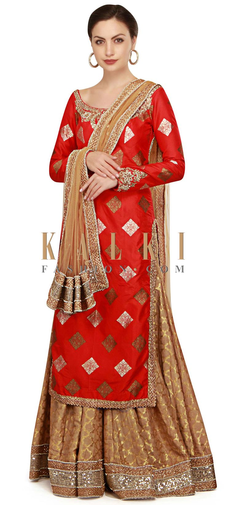Red straight palazzo suit with embroidered neckline only on Kalki