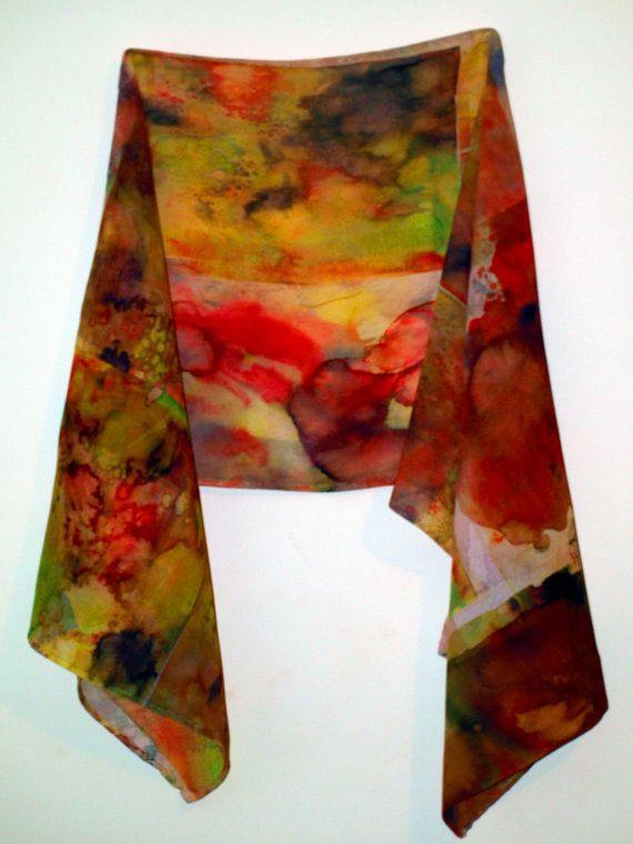 crepe de chine heat transfer scarf using suminagashi and mono printing