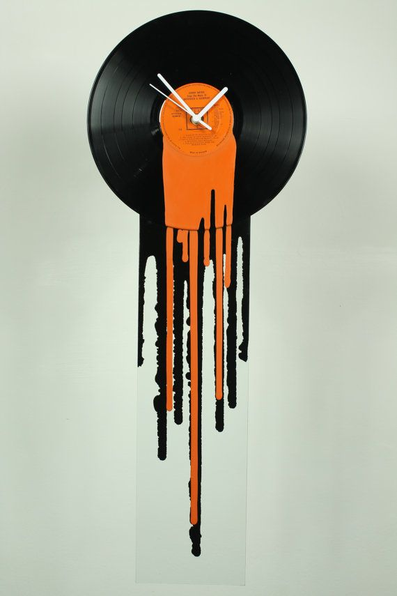 Vinyl clock Funky Retro orange clock Modern by ReformationsUK