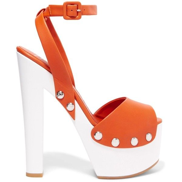 GIUSEPPE ZANOTTI   Leather platform sandals ($335) ❤ liked on Polyvore featuring shoes, sandals, orange platform sandals, strappy sandals, high heel platform shoes, leather high heel sandals and orange high heel sandals