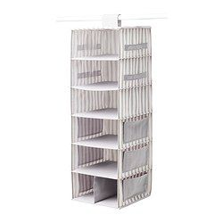 SVIRA Hanging storage with 7 compartments, gray, white stripe - IKEA