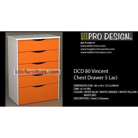 Harga Drawer DCD 80 Vincent Pro Design Condition:  New product  Ukuran (CM) : 80 x 49 x 123 (LxWxH) Tersedia warna : WHITE BLUE / WHITE ORANGE / WHITE YELLOW / WHITE RED kualitas premium