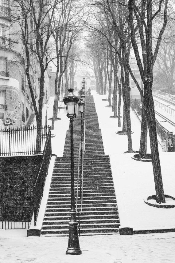 Paris Photography, Snowy morning in Montmartre, winter photography, Paris in the snow, black and white art, Winter in Paris, Francophile