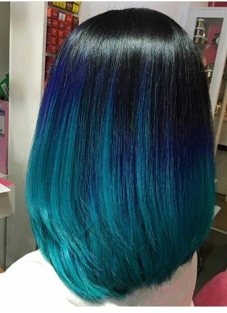 Beautiful And Dark Blue And Black Ombre Medium Length Hair