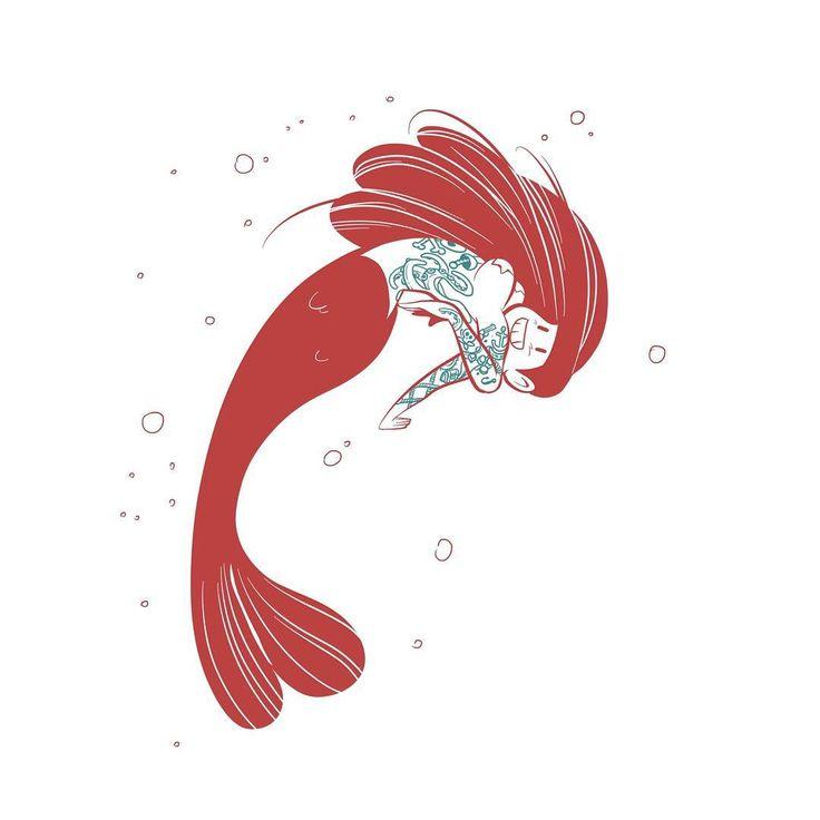 Felt like drawing another tattooed mermylass⠀ ⠀ #illustration #characterdesign #mermay #mermaid #tattoo #ink #cute #pinup #girl #fish #doodle #drawing #starfishbikini #procreate