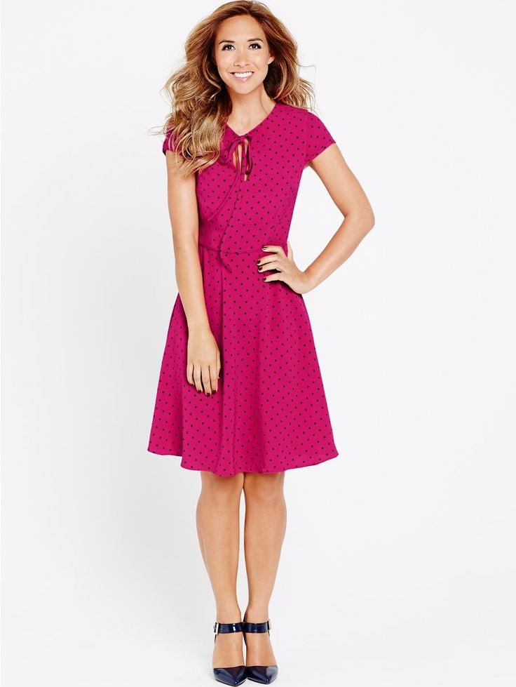Very - Spot Print Tie Neck Dress, http://www.very.co.uk/myleene-klass-spot-print-tie-neck-dress/1436904048.prd
