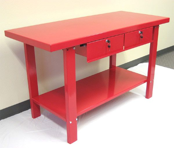 metal workbench with drawers. red metal workbench with two drawers - car guy garage k