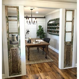 Can't decide which I like better... the French doors installed as sidelights or the antique tool bin turned into a filing unit?? #tiedforfirst #openoffice #shiplap @magnoliahomestx