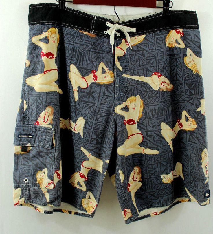 """Quicksilver Men's Board Shorts Waist measures 38"""" Pin Up Girl Bikini Babe Blue #Quicksilver #BoardSurf"""