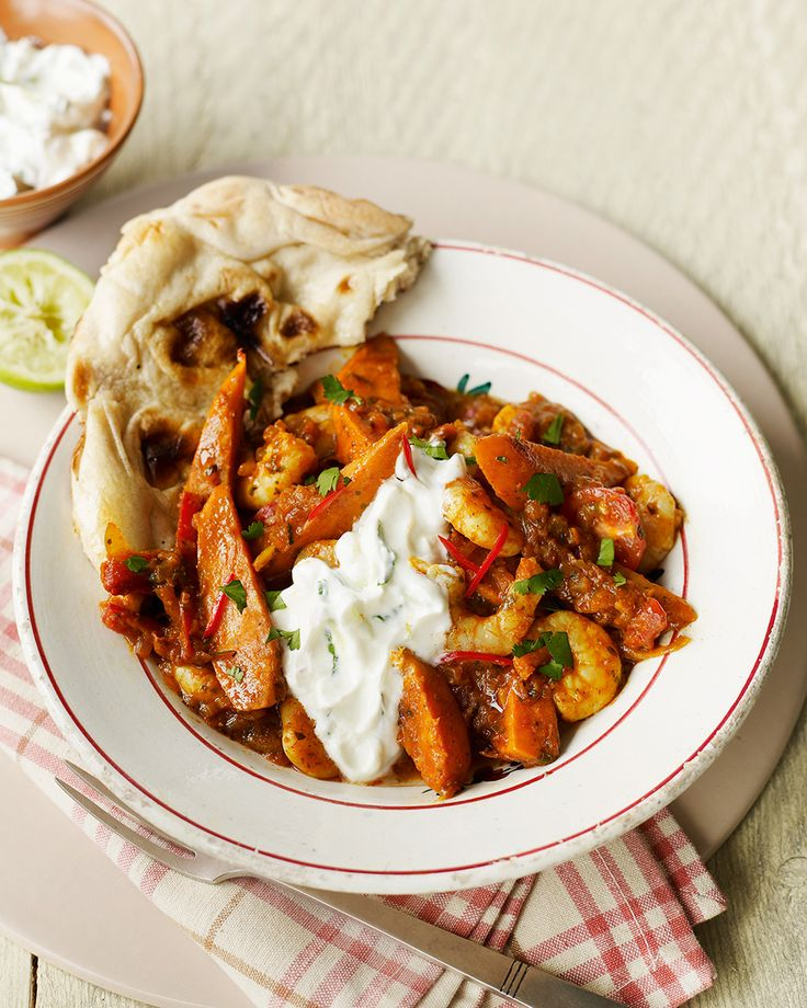 •1 tbsp olive oil•4 shallots, sliced•2cm piece fresh ginger, diced•½ tsp garam masala•2 small sweet potatoes, cut into small wedges•350g balti sauce•A handful of cherry tomatoes, halved•200g peeled raw king …