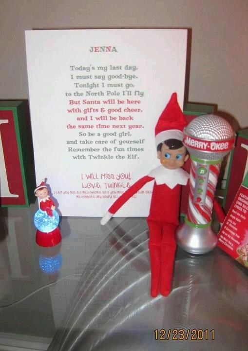Last elf on the shelf appearance poem!
