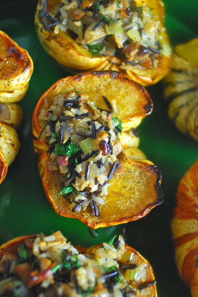 Stuffed Sweet Dumpling Squash with Mushrooms and Wild Rice