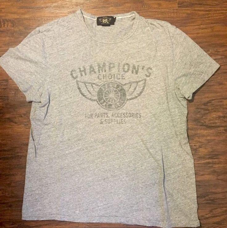 Men's Ralph Lauren Double RL RRL Gray Graphic Tee T-Shirt Size Large