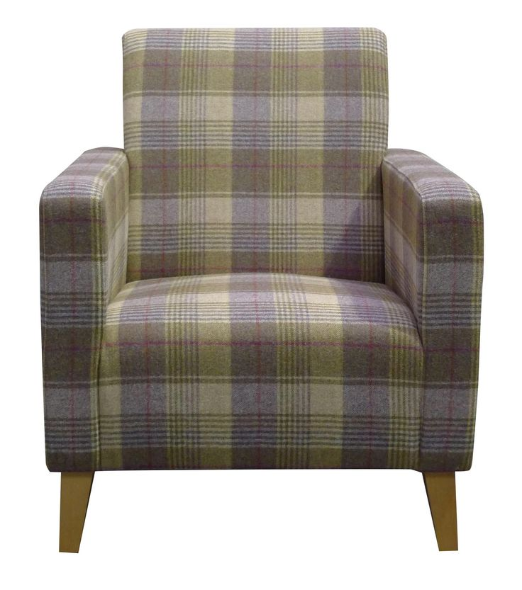 Our Como #armchair upholstered in #AbrahamMoon Huntingtower Grape. #wool #interiordesign #madetoorder #tartan #purple #livingroom