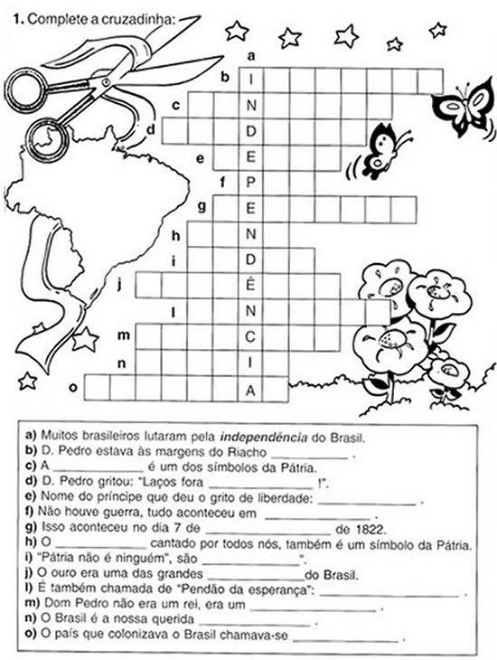 Atividades sobre Independência do Brasil, com exercícios e planos de aula. Atividades Semana da Pátria - dia 7 de setembro - Ensino infantil e Ensino fundamental.