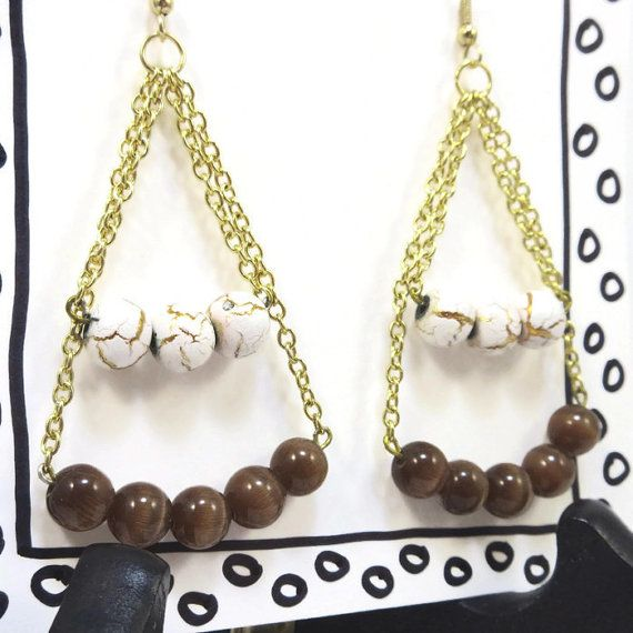 Gold and Brown Chandelier EarringsBead by FindingDaisies on Etsy