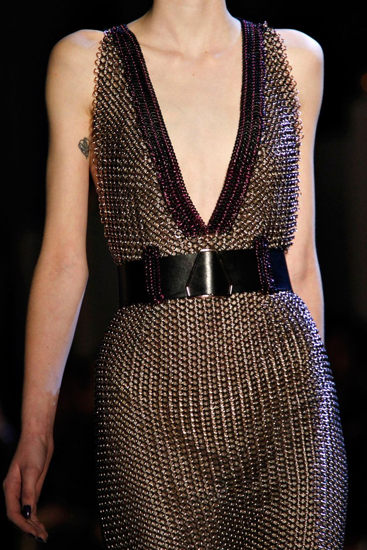 Yves Saint Laurent. Chain Mail!!! So when are all these armor runway looks gonna become normal fashion? I want to wear armor... Then everyday will feel like an adventure!