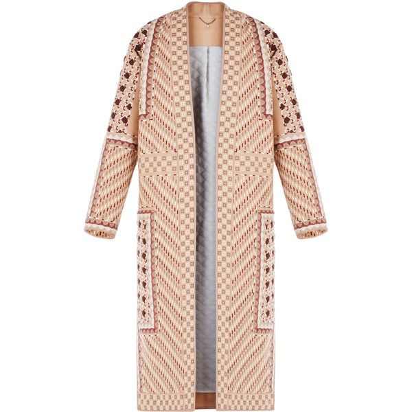 BCBGMAXAZRIA Runway Vladimir Coat (£1,250) ❤ liked on Polyvore featuring outerwear, coats, jackets, sequin coat, bcbgmaxazria, fur-lined coats, embroidered coat and pink coat