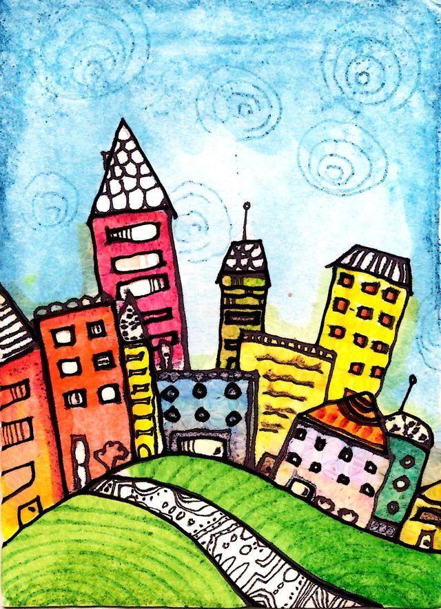 Картинки рисуем город для детей