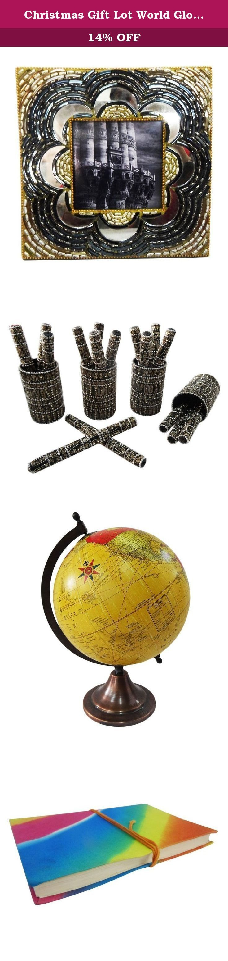 """Christmas Gift Lot World Globe, Photo Frame, Pen Pot Set, Trinket Diary Cotton Canvas Material Handcrafted Table Topper Multicolor Set of 4 Items. Beautiful Handmade gift lot which include Globe, Diary, Pen Pot and Photo Frame. This ethnic gift lot combine traditional with a modern design, a great accessory for traditional touch. Material, Size and Color- Globe : Material-Plastic and Iron, Size-Stand -13"""" and Plastic Ball-8"""" Inches, Color-Yellow Diary : Material-Cotton Canvas, Size-Length…"""