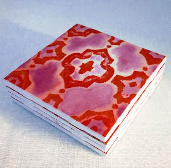 Items Similar To Red Moroccan Ceramic Tiles Print From My Original Artwork Magenta Tile Drink Coasters Set Of Personalized On Etsy