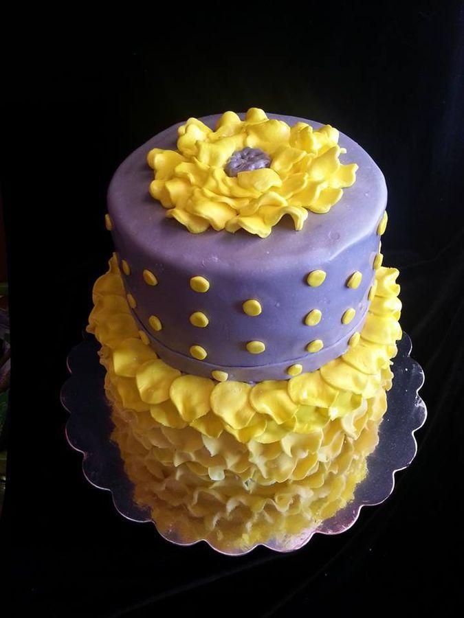Yellow and Purple Petal wedding cake  ~ all edible