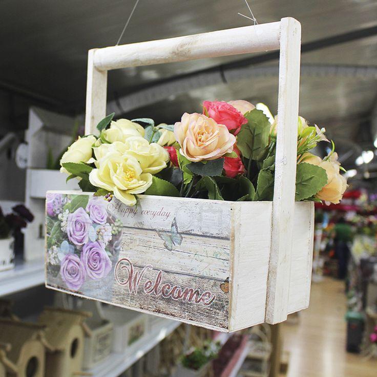 Jardinera de Madera, Flores Artificiales