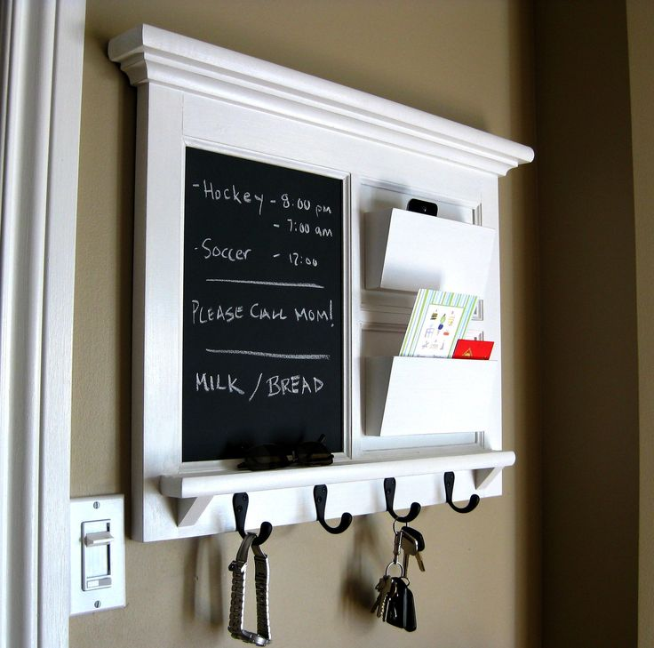 Heirloom Quality Wood Framed Double Mail Slot Organizer with Chalkboard, Bulletin Board or Dry Erase and Keyhook in Black or White. $165.00, via Etsy.
