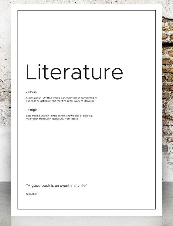 Beautiful Literature definition print Literature typography by VectorZone