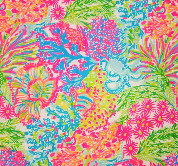 Dobby Cotton Fabric  Brand new, unwashed section of authentic Lilly Pulitzer fabric. 18 x 18 or 1 Yard (36 x 57) depending on which one you select from the drop down menu.  Comes from a clean, smoke free home :)  Multiple Yards Available (Just select the yard option and the quantity you would like)