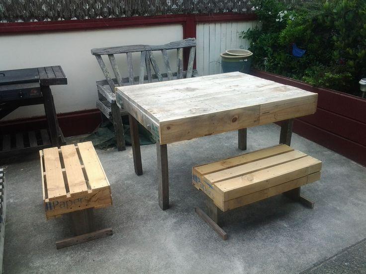 garden palletbench palletchair pallettable repurposedpallet very easy