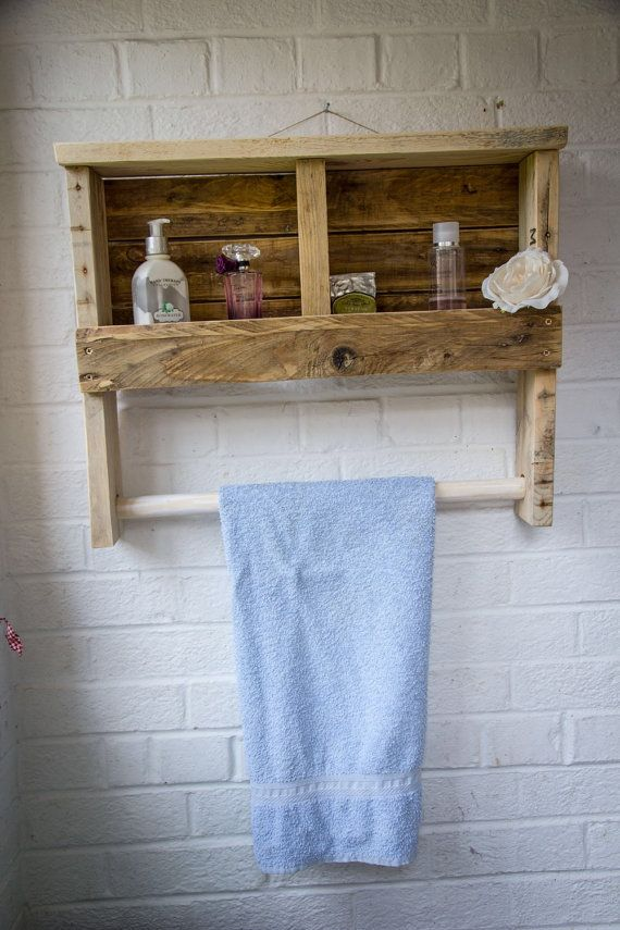 Rustic Wooden Towel Rail with Shelf made from by PalletGenesis