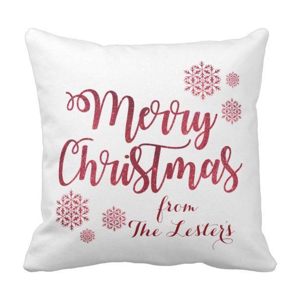 "Merry Christmas Polyester Throw Pillow 16"" x 16"" #custom #christmas #pillow #homedecor #holiday"