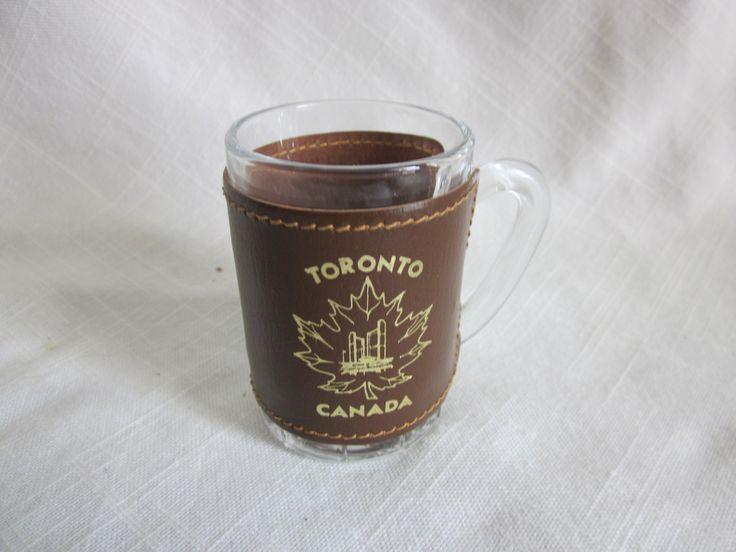 Mini Whiskey Barrel Shot Glass Leather Wrap Souvenir Toronto CA Marked France on Glass by BeasAtticbyLisa on Etsy