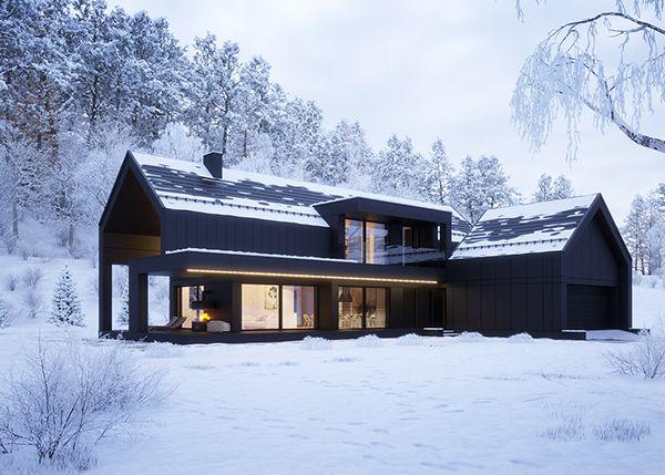 Black house in winter on Behance