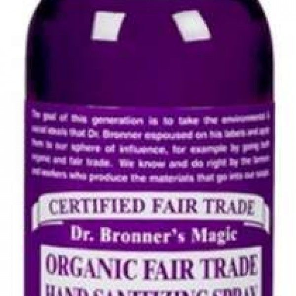 Dr. Bronner's Fair Trade & Organic Hand Sanitizing Spray is free of GMO-alcohol and petrochemical thickener. With added organic glycerin for moisturizing the skin.