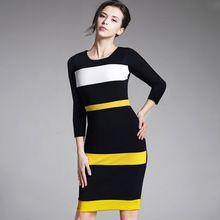 Kadın Kılıf Patchwork Çizgili Zarif O-Boyun Koyu Mavi Yaz Elbise Kolsuz Örgün Bodycon Diz Boyu Ofis Elbise B275(China (Mainland))