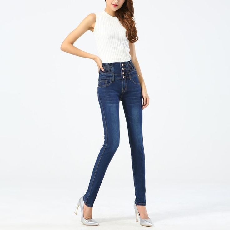 JLZLSHONGLE New High Waist Skinny Jeans Women Slim Fashion Button Design Plus Size Alice Ass Denim Long Pencil Pants Jeans Women