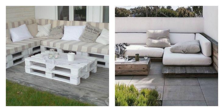 salon de jardin en palette : idées en noir et blanc