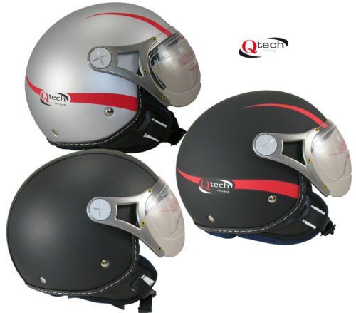 Motorcycle-OPEN-FACE-helmet-QTECH-Scooter-Motorbike-Black-Silver-LEATHER-Q501i £39.95 LEATHER
